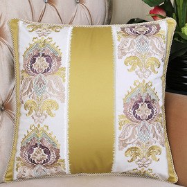 Embroidered Country Floral Best Gold Throw Pillow For Couch