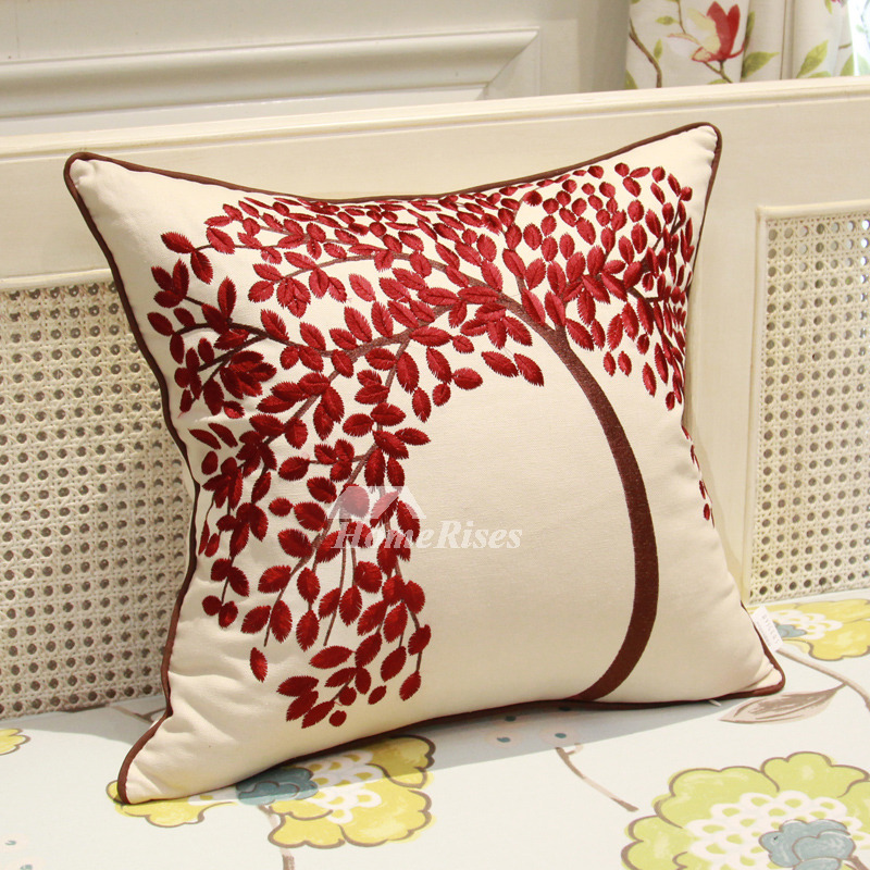 Country Tree Linen Couch Burgundy And White Throw Pillows