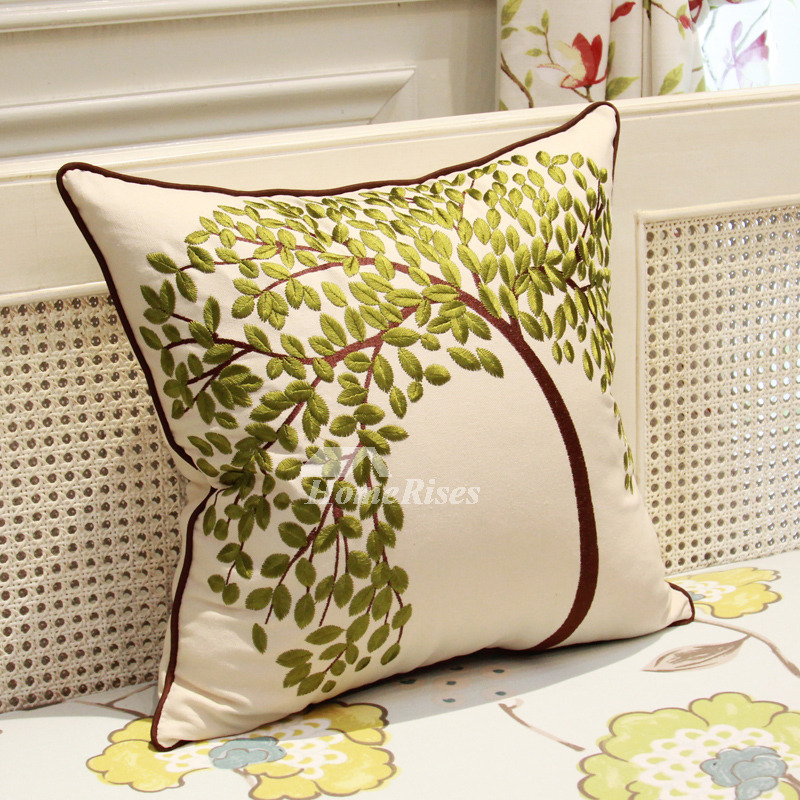 Throw Pillows White Couch : Country Tree Linen Couch Green And White Throw Pillows
