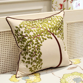 Country Tree Linen Couch Green And White Throw Pillows