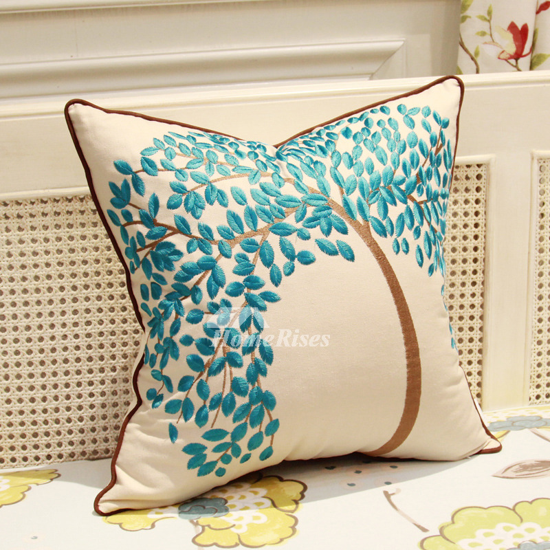 Country Tree Linen Couch Blue And White Throw Pillows