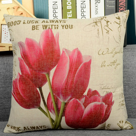 Tulip Country Floral Canvas Couch Square Red Throw Pillows