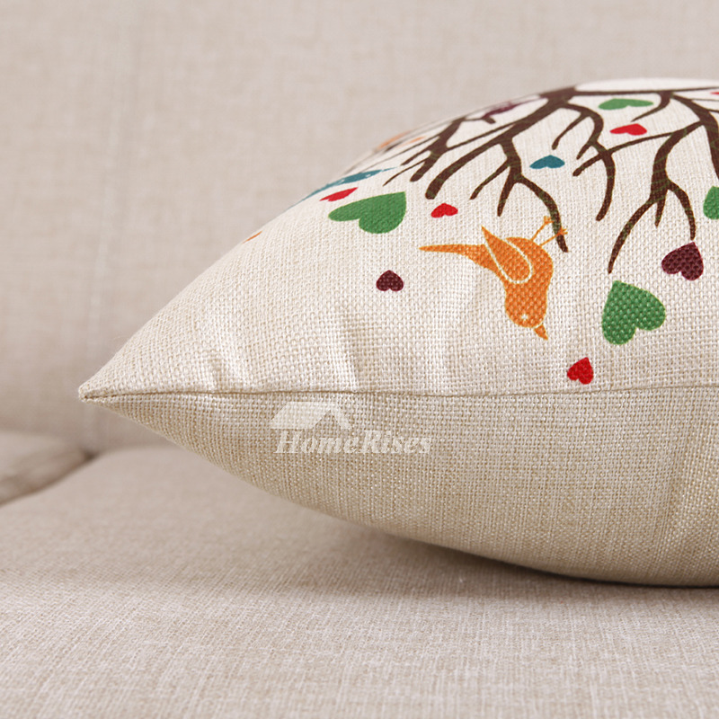 Tree Country Linen Couch Brown And White Throw Pillows