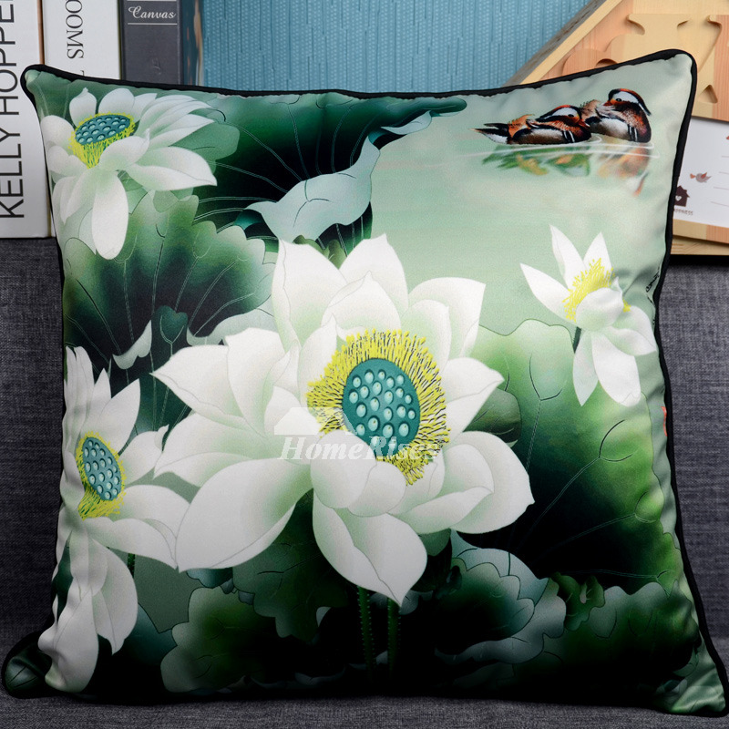 Country Floral Plush Square Green Throw Pillows For Couch