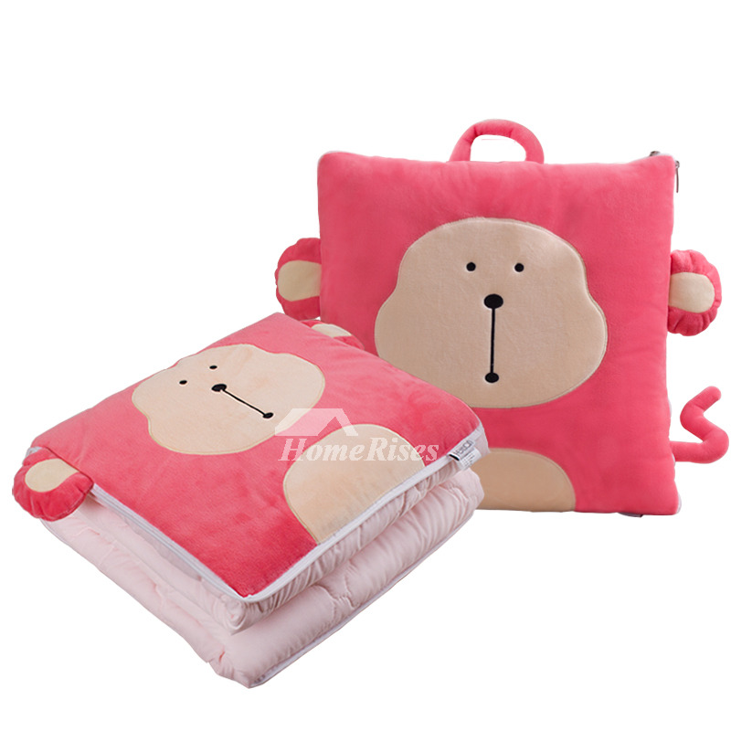 Cute Monkey Couch Polyester Fiber Square Pink Throw Pillows
