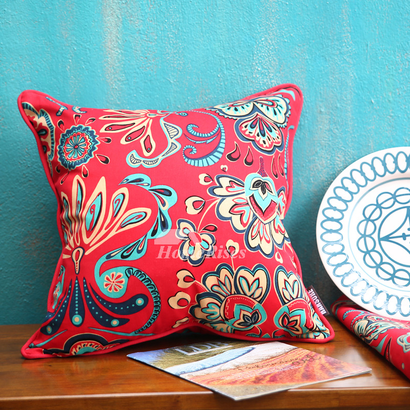 Country Floral Cotton Couch Down Red Best Throw Pillows
