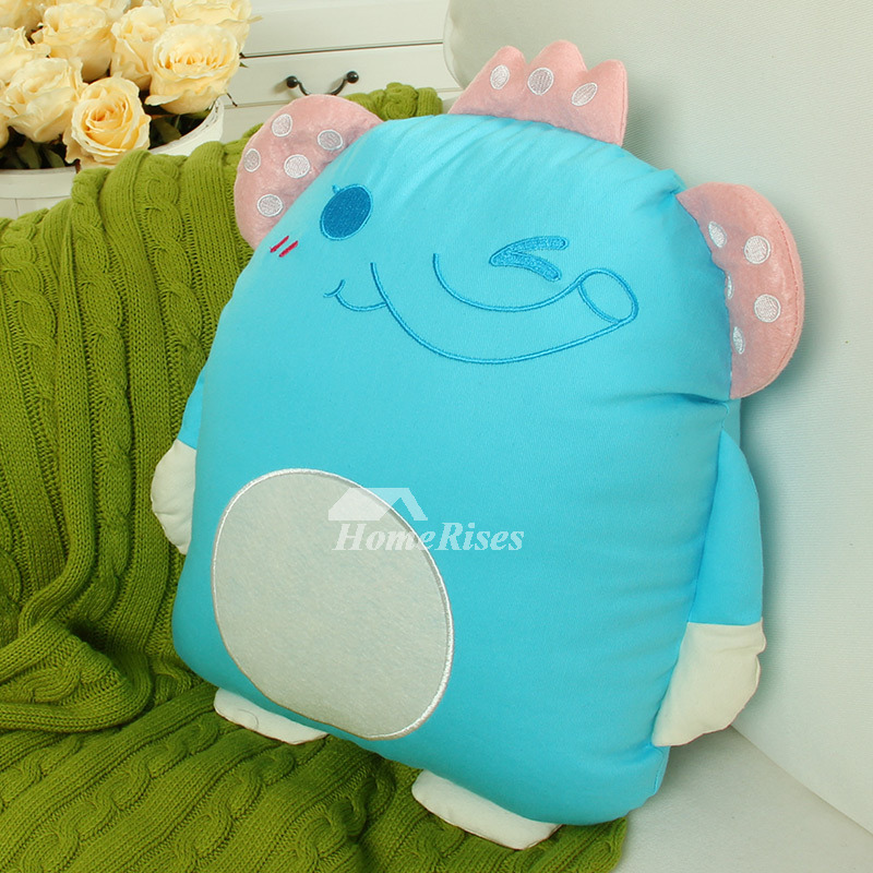 Cute Animal Cotton Couch Blue Throw Pillows Elephant