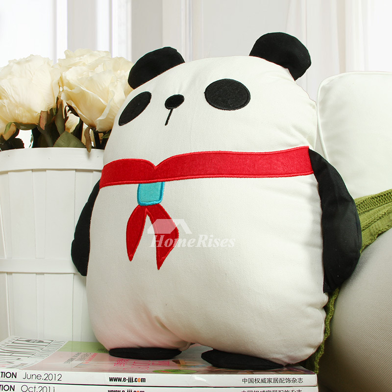 Cute Animal Cotton White Throw Pillows For Couch Panda