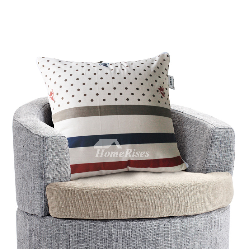 Modern Striped Cotton Couch Square Gray Throw Pillows