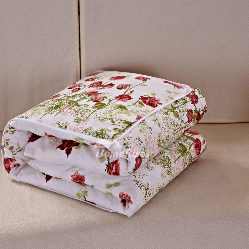 Country Floral Cotton Square Red Throw Pillows For Couch