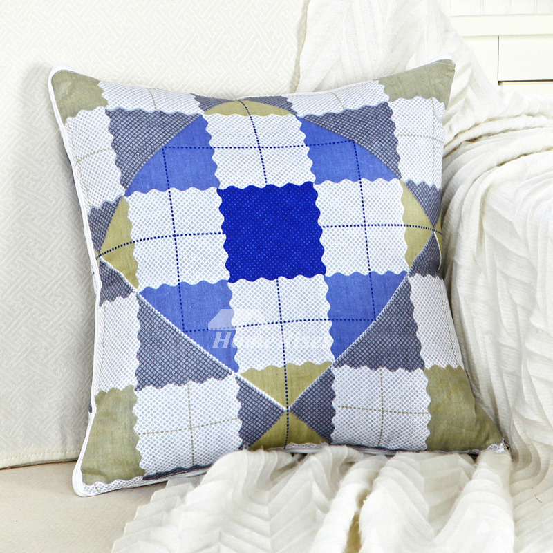 Modern Blue And White Plaid Plaid Throw Pillows For Couch