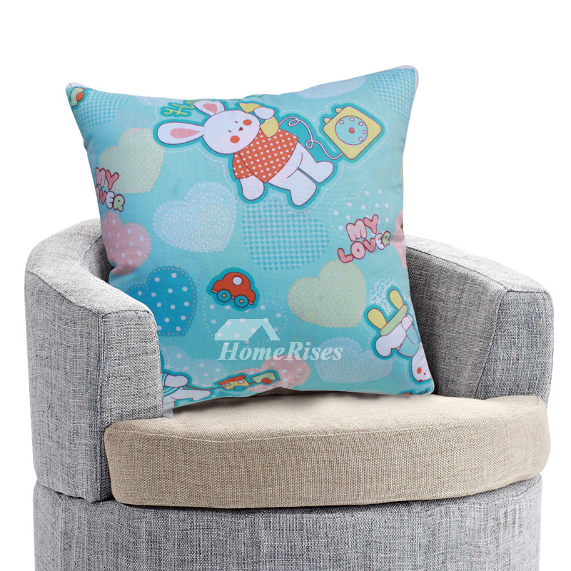 Cute Rabbit Cartoon Animal Turquoise Couch Decorative