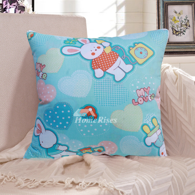 Cute Rabbit Cartoon Animal Turquoise Couch Decorative Throw Pillows
