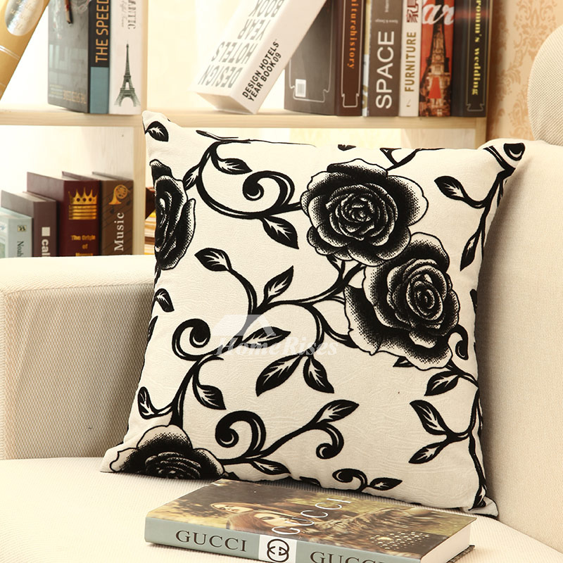 Country Floral Large Black And White Throw Pillows For Couch