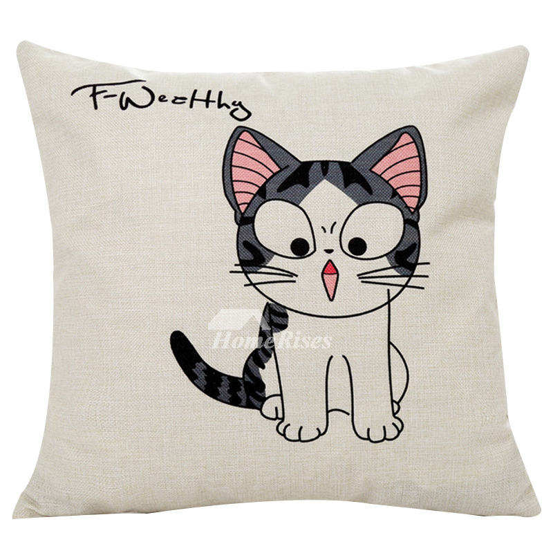 Cute Cat Cream Cartoon Linen Throw Pillows For Couch