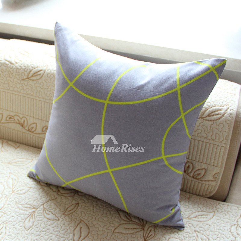 Modern Geometrical Cotton Couch Square Blue Throw Pillows
