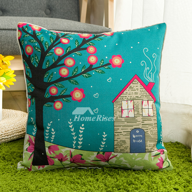 Kids Country Tree Building Linen Turquoise Throw Pillows