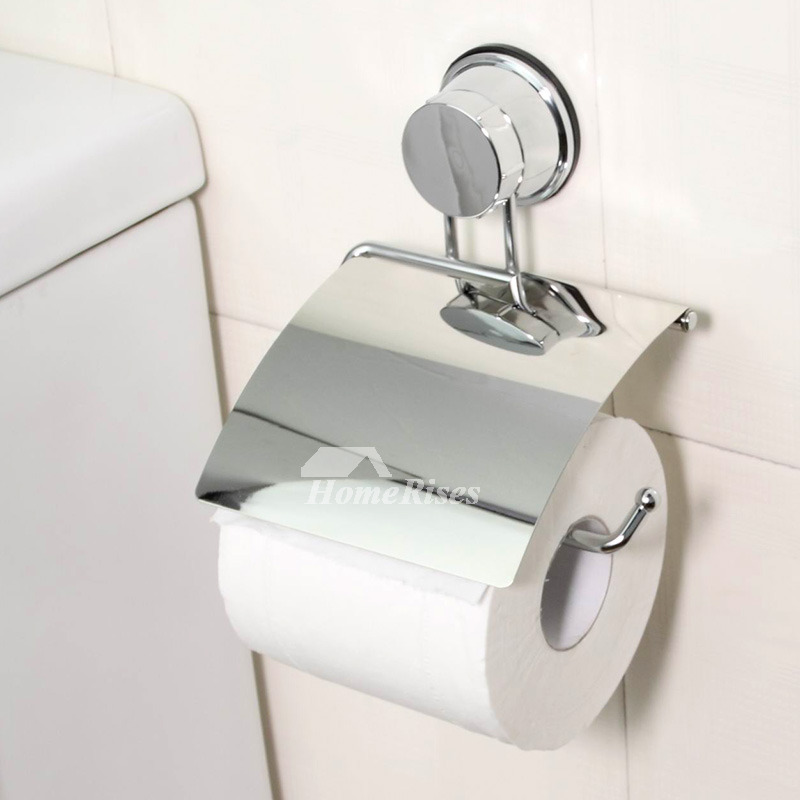 Cheap chrome suction cup no drill toilet paper holder for Affordable bathroom accessories