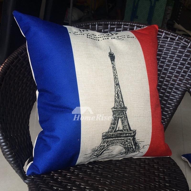 Eiffel unique designer blue gray red building linen cheap for Cheap gray throw pillows