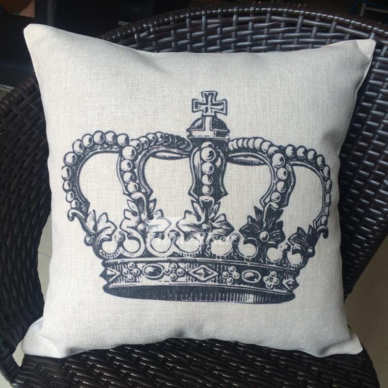Crown Unique Cream Cartoon Linen Couch Cheap Throw Pillows