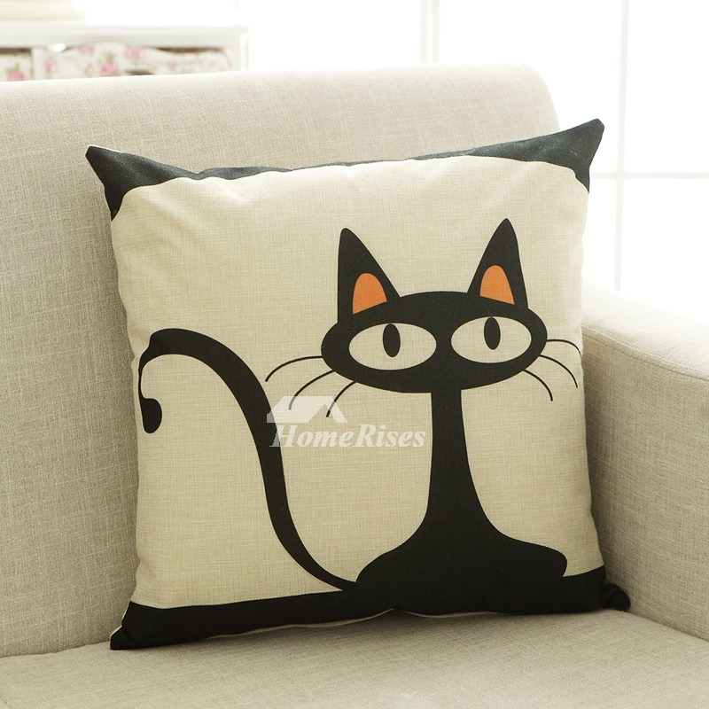 Kids Cartoon Animal Cat Couch Black And White Throw Pillows
