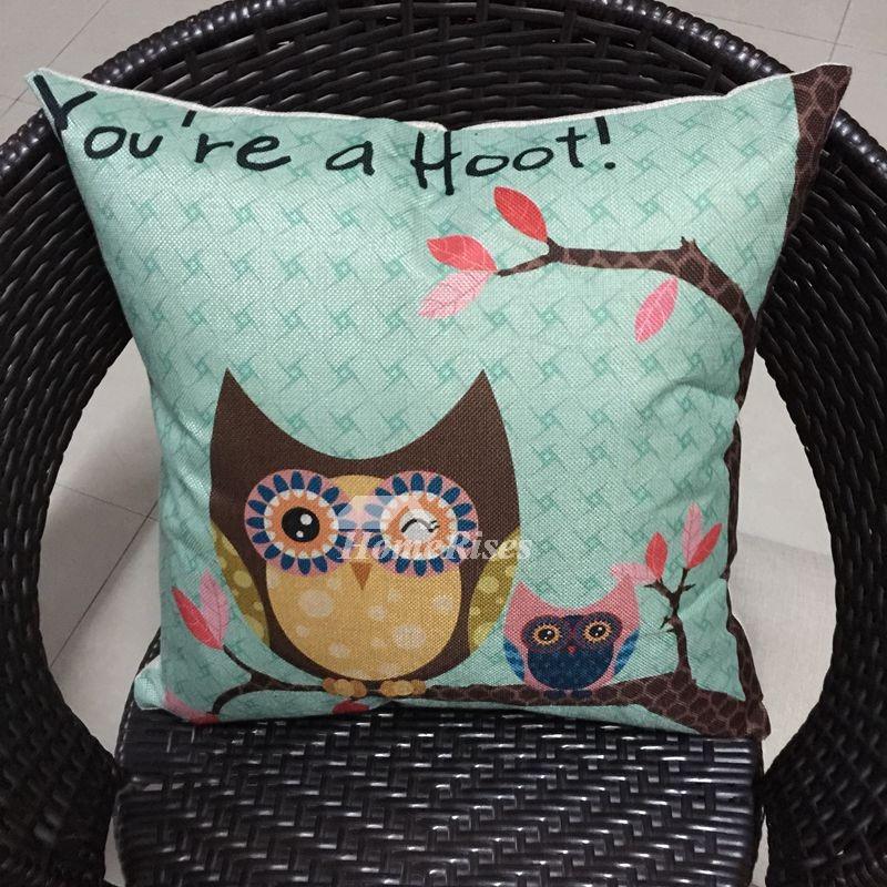 Cute Kids Cartoon Aqua Linen Couch Throw Pillow Covers