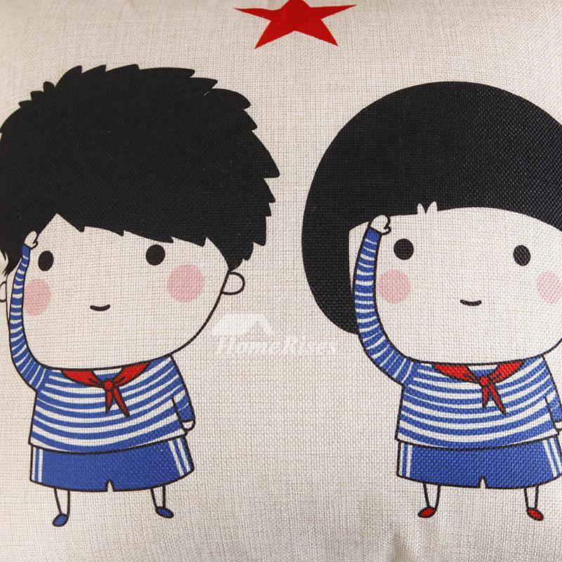 Kids Cute Blue And Cream Cartoon Linen Cheap Throw Pillows