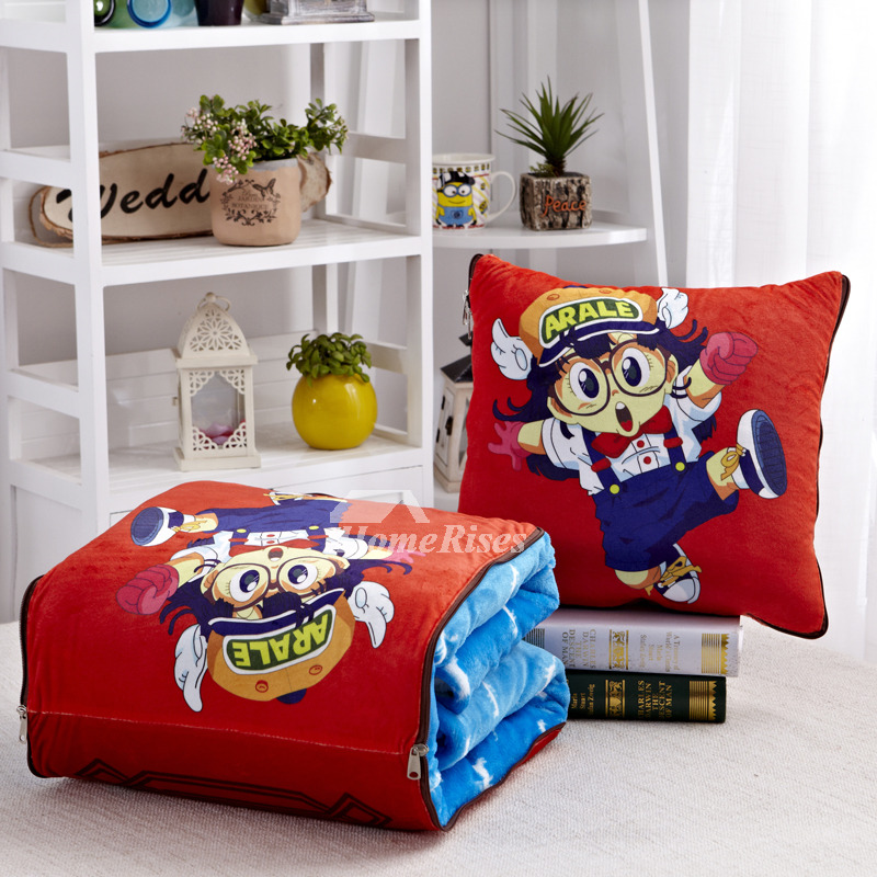 Cute Cartoon Velvet Couch Blue And Red Decorative Throw Pillows