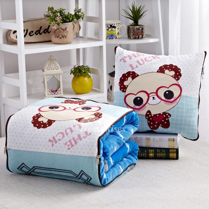 Cute Aqua Throw Pillows : Kids Cute Cartoon Aqua And White Velvet Throw Pillows For Couch