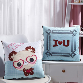 Kids Cute Cartoon Aqua And White Velvet Throw Pillows For Couch