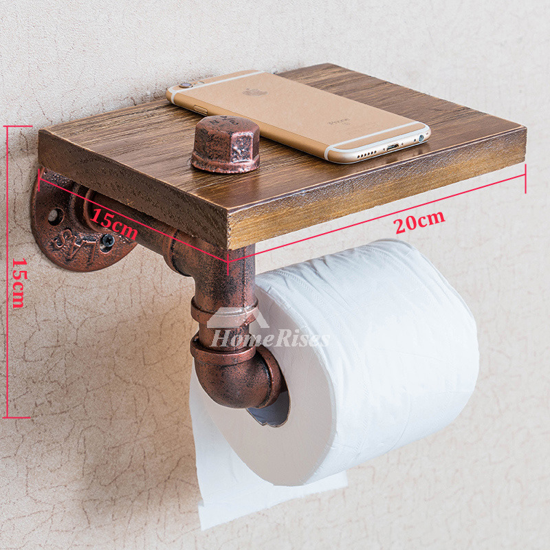 Unusual Vintage Wooden Rustic Toilet Paper Holder With Shelf