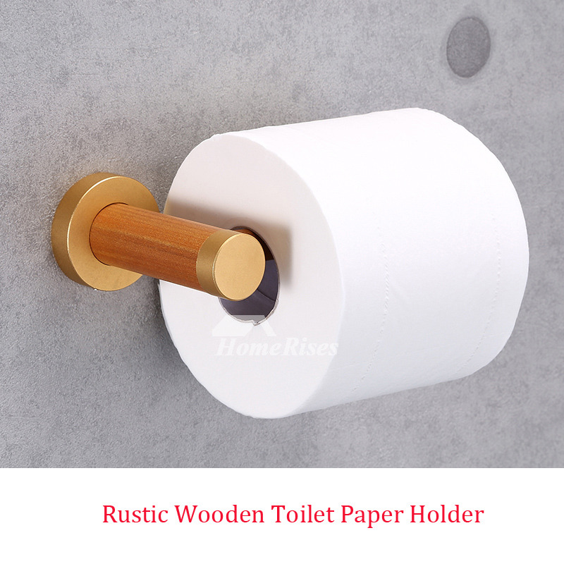 Simple Exquisite Rustic Wooden Toilet Paper Holder