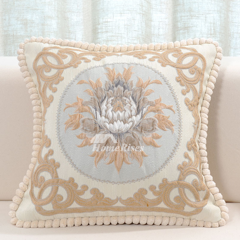 Vintage luxury Gray Floral Velvet Couch Best Throw Pillows