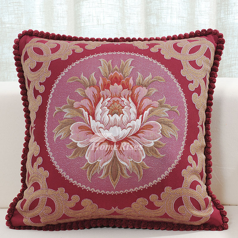 luxury Vintage Red Floral Velvet Couch Best Throw Pillows