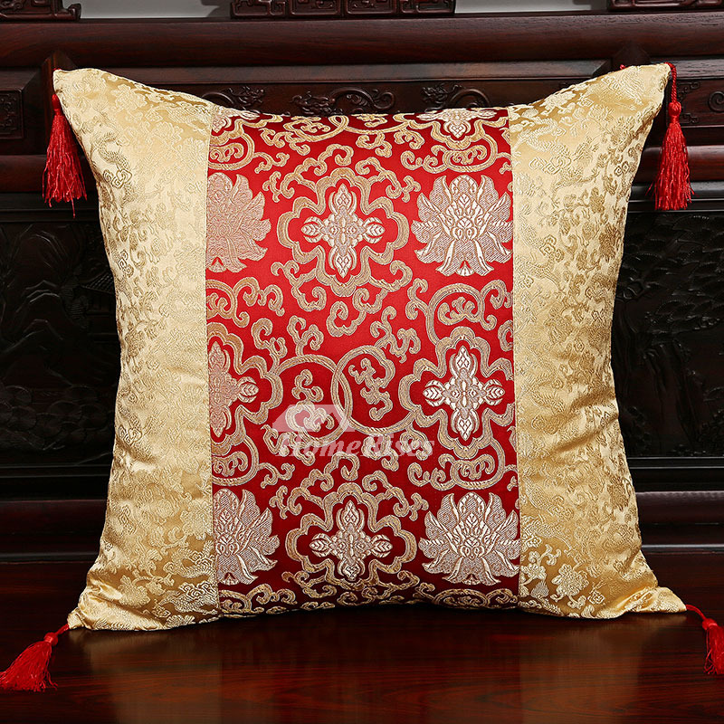 Luxury Vintage Gold And Red Fl Decorative Throw Pillows Pillow Core Not Included