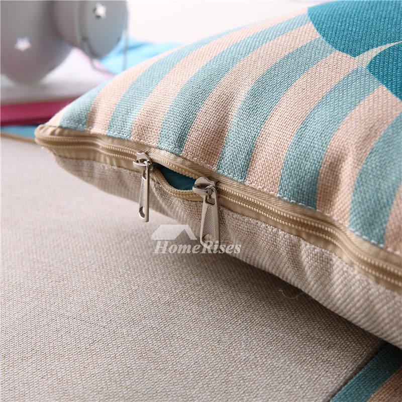 Kids Striped Animal Linen Couch Turquoise Throw Pillows