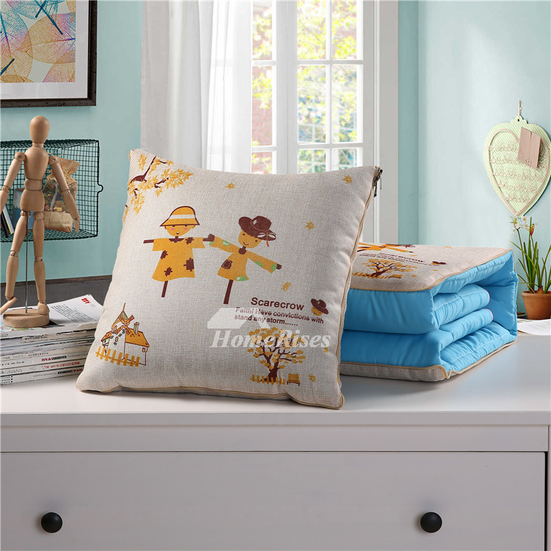 Kids Country Cream Cartoon Linen Decorative Throw Pillows