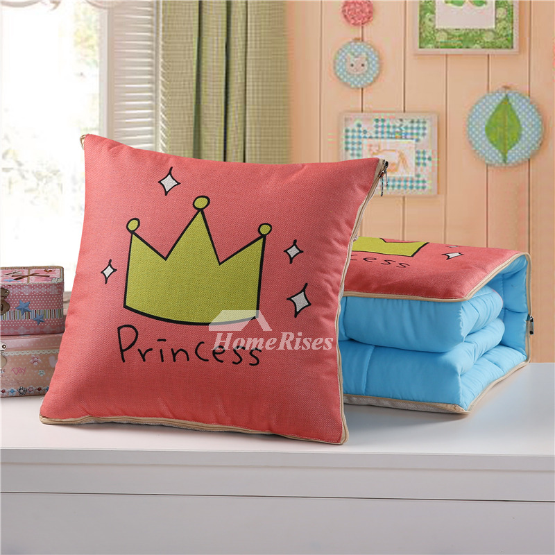 Cute Kids Cartoon Linen Couch Discount Pink Throw Pillows