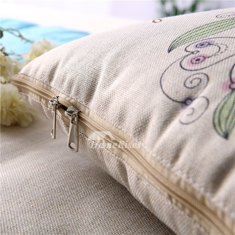 Country Cream Floral Linen Couch Square Best Throw Pillows