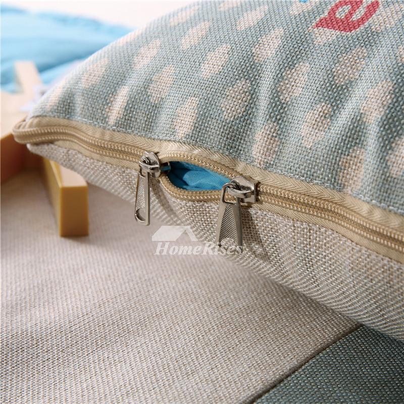 Cute Kids Light Blue Cartoon Animal Linen Throw Pillows