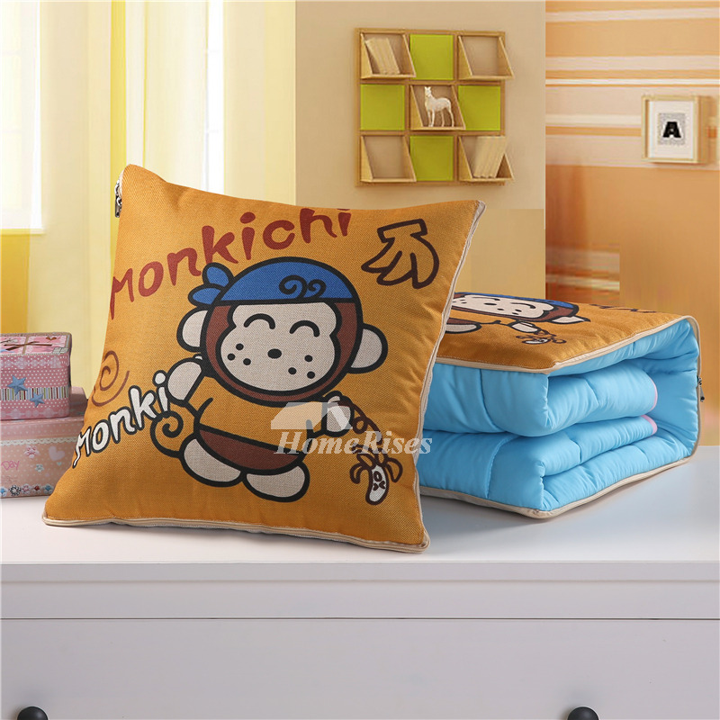 Cute Kids Cartoon Animal Linen Couch Orange Throw Pillows