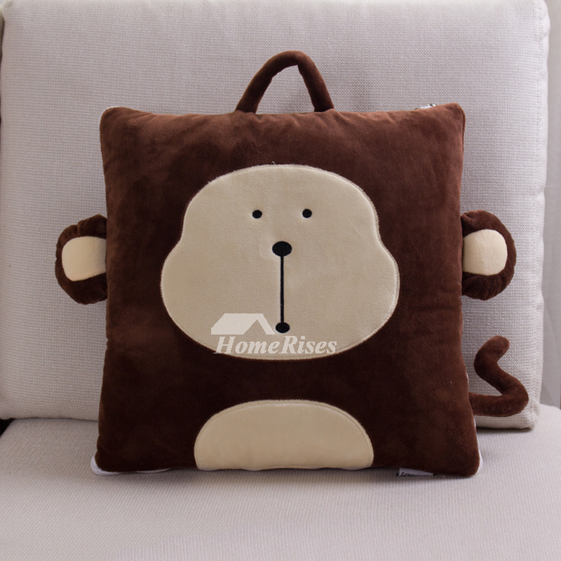 Kids Cute Animal Velvet Brown Throw Pillows For Couch