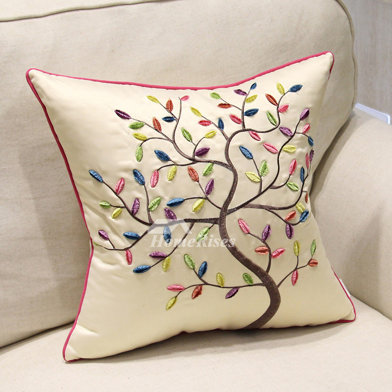 Country Tree Polyester Fiber Discount Cream Throw Pillows For Couch