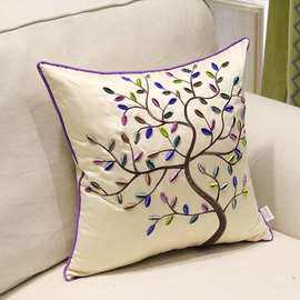 Country Tree Polyester Fiber Cream Throw Pillows