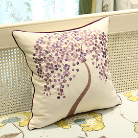 Country Purple And Cream Tree Linen Best Throw Pillows