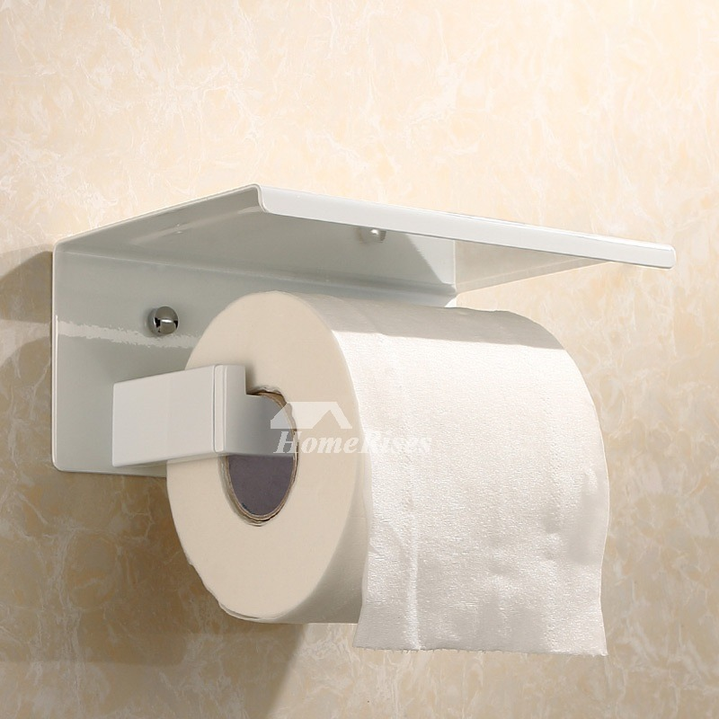 White Chrome Stainless Steel Bathroom Toilet Paper Holder