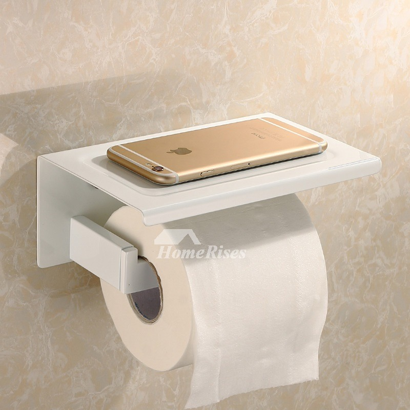 White Chrome Stainless Steel Bathroom Toilet Paper Holder