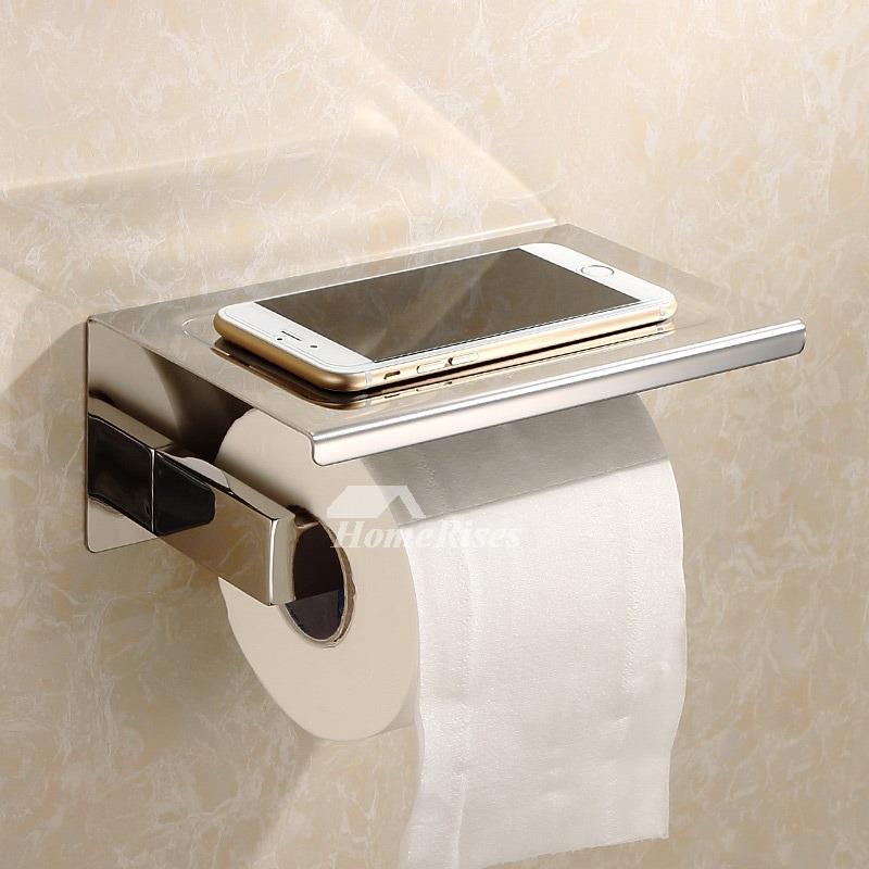 White Chrome Stainless Steel Bathroom Toilet Paper Holder With Shelf Hois290513 7 Jpg