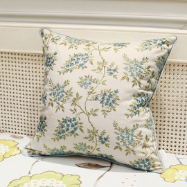 Country Blue White Floral Tree Linen Couch Best Throw Pillows