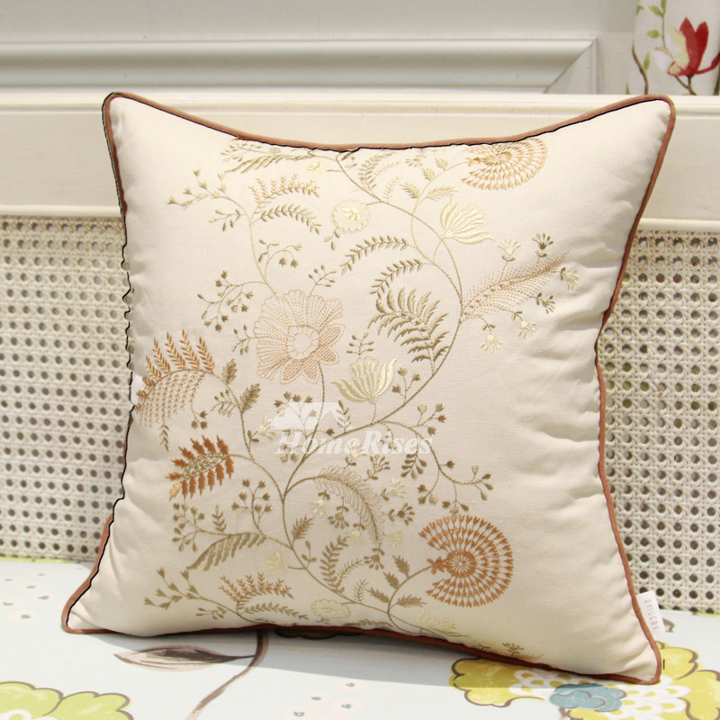 Country Cream Floral Tree Linen Best Throw Pillows